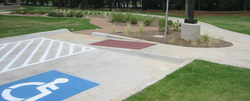 Accessible parking with curb ramp